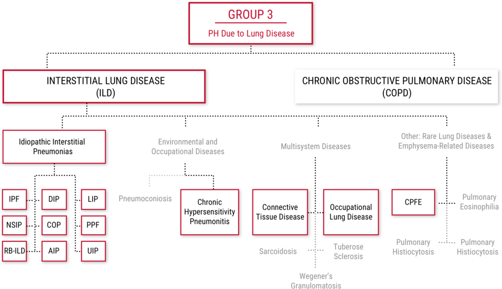 Group 3 PH due to Lung Disease diagram